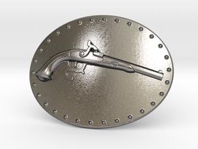 Muzzle Loading Gun Belt Buckle in Polished Nickel Steel