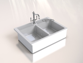 Miniature Doll House Kitchen Sink A, 1:12 in White Processed Versatile Plastic