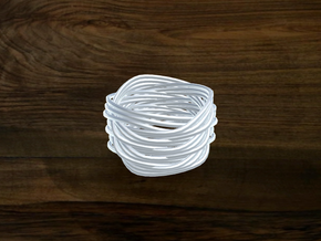 Turk's Head Knot Ring 6 Part X 3 Bight - Size 7 in White Strong & Flexible