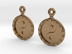 YinYang EarRings 1 - Pair - Metal in Natural Brass
