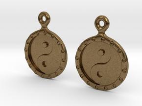 YinYang EarRings 1 - Pair - Metal in Natural Bronze