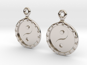 YinYang EarRings 1 - Pair - Precious Metal in Rhodium Plated Brass