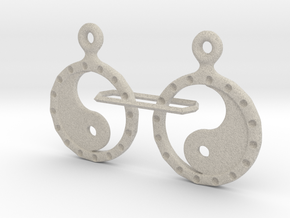 YinYang EarRings 2 - Pair - Plastic in Natural Sandstone