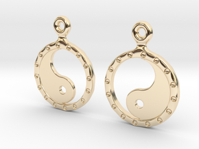 YinYang EarRings 2 - Pair - Precious Metal in 14k Gold Plated Brass
