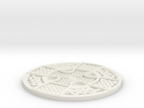 Celtic Manx Wheel Coaster in White Natural Versatile Plastic