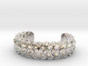 Hard Shred Cuff bracelet   Narrow  in Rhodium Plated Brass: Medium