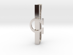 OHM (Omega) Tie clip in Rhodium Plated Brass