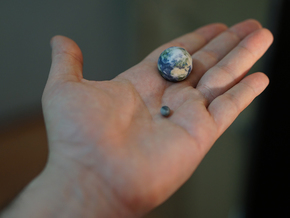 Tiny Earth & Moon to scale in Full Color Sandstone