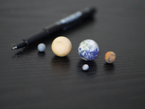 Tiny Mercury, Venus, Earth, Mars & Moon in Full Color Sandstone