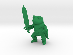 Frog and Sword Low Poly figure in Green Processed Versatile Plastic