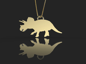 Triceratops necklace Pendant in 14k Gold Plated Brass