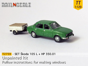 SET Skoda 105 L + HP 350.01 (TT 1:120) in Smooth Fine Detail Plastic