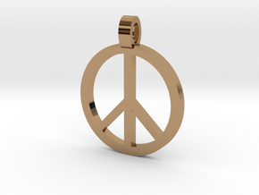 Peace Symbol Pendant in Polished Brass