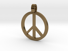 Peace Symbol Pendant in Polished Bronze