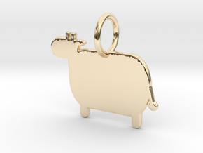 Cow Keychain in 14K Yellow Gold