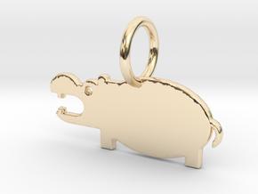 Hippopotamus Keychain in 14K Yellow Gold