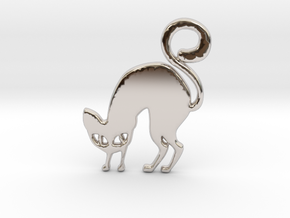 Halloween Cat in Rhodium Plated Brass