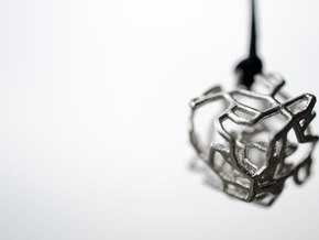 Organic caged cube pendant in Interlocking Raw Silver
