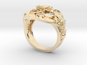 Botanica Mechanicum RING SIZE 9 in 14k Gold Plated Brass