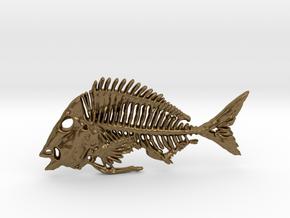 Littlehead Porgy Fish Skeleton Pendant in Natural Bronze