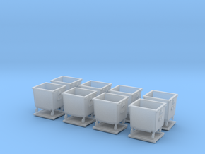 H0 Rubbish bins set ( 8 pcs ) 1:87 scale  in Smooth Fine Detail Plastic