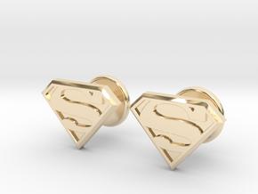 Man of Steel Cufflinks in 14k Gold Plated Brass