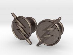 Flash Cufflinks in Polished Bronzed Silver Steel