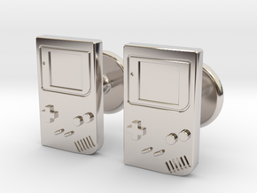 Game Boy Cufflinks in Rhodium Plated Brass