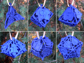 Botanical Dice Ornament Set in Blue Processed Versatile Plastic