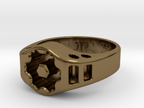US12.5 Ring XIX: Tritium (Silver) in Polished Bronze