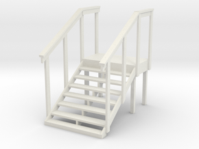 MOF Red Barn Stairs White -72:1 Scale in White Strong & Flexible