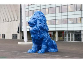 Olympique Lyonnais Lion Statue in Blue Strong & Flexible Polished