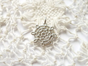 Lace Pendant - Small in Polished Silver