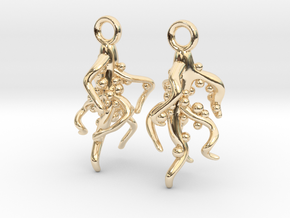Nodulated Root Earrings - Science Jewelry in 14k Gold Plated Brass