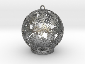 Blooming Flowers Ornament for Lighting in Natural Silver