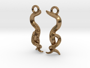 Caenorhabditis Nematode Worm Earrings in Natural Brass