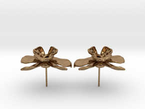 Orchid Earrings in Natural Brass
