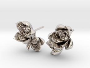 Succulent No. 2 Post Studs in Rhodium Plated Brass