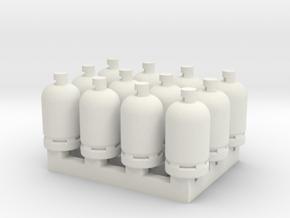 12 Gas Bottles in White Natural Versatile Plastic