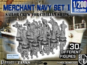 1-200 Merchant Navy Crew Set 1 in Smoothest Fine Detail Plastic