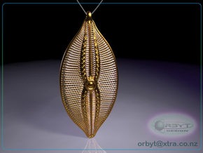 Navicula bullata Pendant ~ 46mm tall (1.8 inches) in Polished Brass