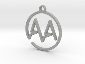 A & A Monogram Pendant in Raw Aluminum