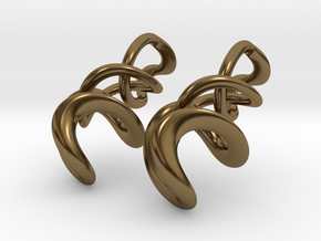 Tumbling loops earrings in Polished Bronze (Interlocking Parts)