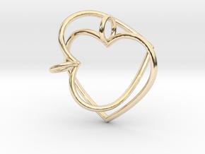 Two Hearts Interlocking in 14K Yellow Gold