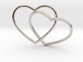 Two Hearts Interlocking Pendant in Rhodium Plated Brass