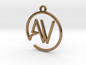 A & V Monogram Pendant in Raw Brass