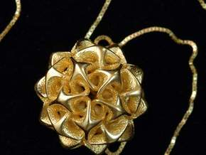 Rhombic triacontahedron II, pendant in White Strong & Flexible