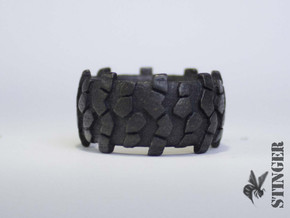 Crawl Truck Tire Size 10 Ring in Polished Grey Steel