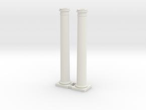 Doric Column 4500mm high X 2 at 1:76 Scale in White Natural Versatile Plastic