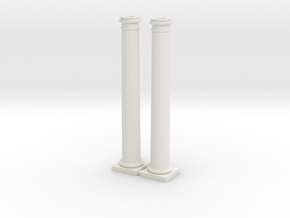 Doric Columns 3500mm high at 1:76 scale X 2 in White Strong & Flexible